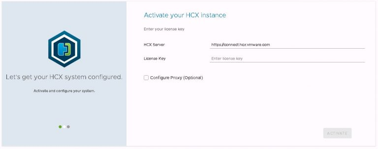 HCX license entry and activation.