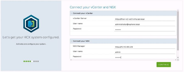 HCX connection to vCenter and NSX