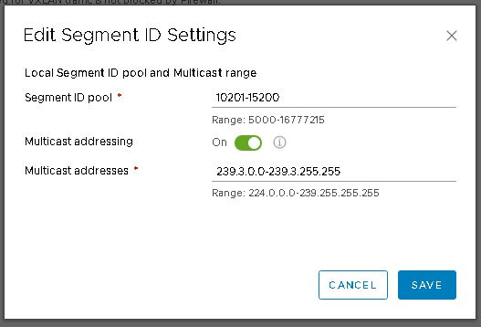 NSX segment ID settings